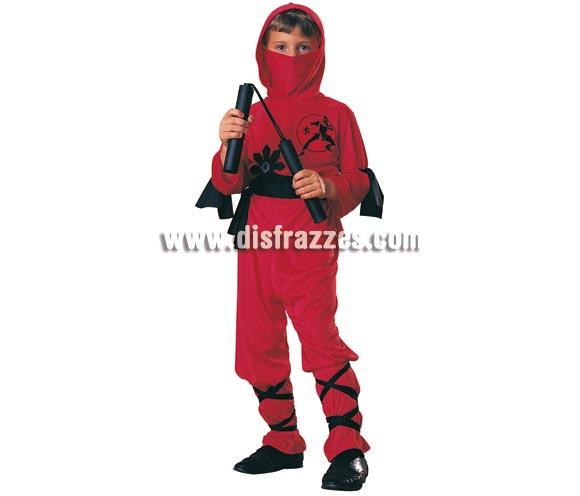 Disfraz de Ninja Rojo Talla niños de 3 a 4 años. Incluye pantalones, camisa con capucha, pañuelo, cinturón y bandas para las piernas y los brazos. NO incluye Luchacos ver en sección complementos. Disfraz que gusta mucho a los niños luchadores y es ideal para cualquier  fiesta y para carnaval.