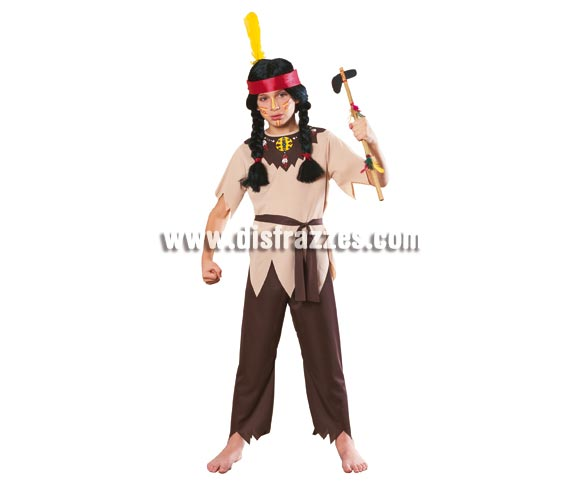 Disfraz de Guerrero Indio Talla niños de 3 a 4 años. Incluye camisa, pantalones y cinturón, NO incluye hacha ver en sección complementos. Disfraz que les gusta mucho a los niños, será un auténtico Apache. Ideal para cualquier fiesta y carnaval.
