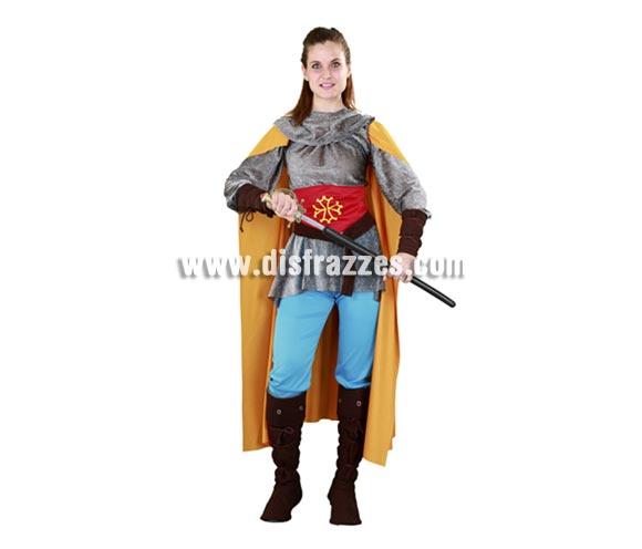Disfraz de Caballera de Tolosa para mujer. Talla standar M-L = 38/42. Incluye camisa, corsé, capa, cinturón, verdugo, muñequeras, pantalones y cubrebotas. Un traje muy completo de Guerrera Medieval muy original perfecto para Ferias y Fiestas Medievales.