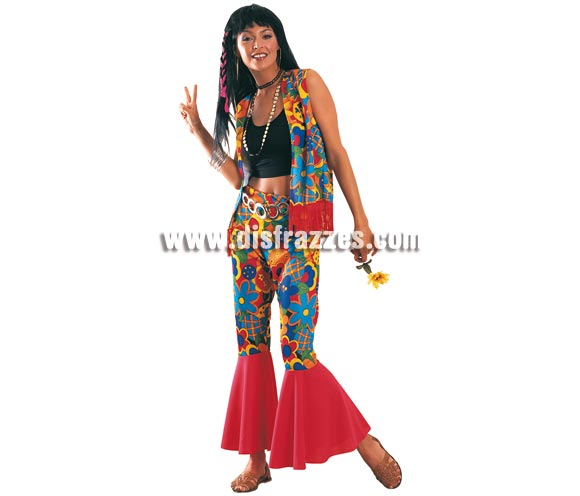 Disfraz barato de Hippie Woman. Talla standar de Mujer