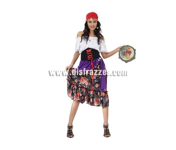 Disfraz barato de Gitana elegante para mujer. Talla standar M-L 38/42. Incluye falda, camisa, cinturón (corpiño) y pañuelo. Éste traje de Carnaval también sirve como disfraz de Zíngara adulta.