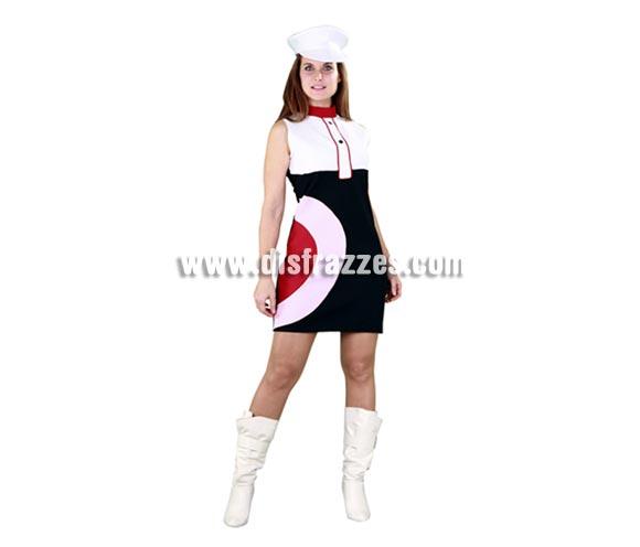 Disfraz barato de Chica de los 70 para mujer. Talla standar M-L 38/42. Incluye gorra y vestido.