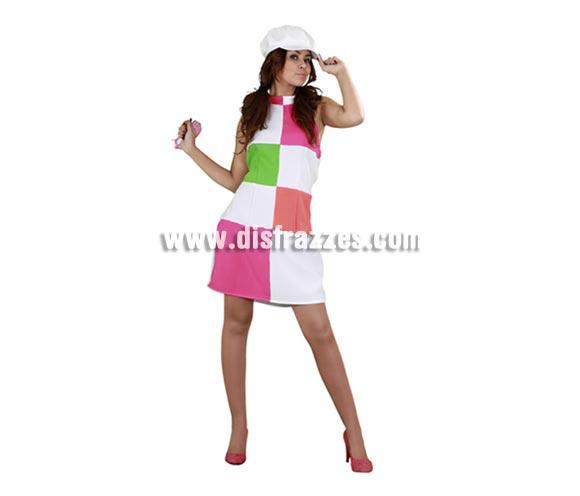 Disfraz de Chica de los años 60 para mujer. Talla standar M-L = 38/42. Incluye gorra y vestido. Otro disfraz muy original y divertido con el que además te sentirás guapa y super-bien de precio.