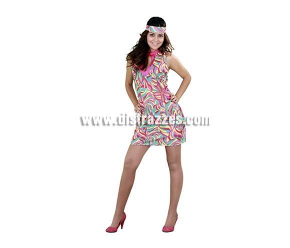 Disfraz de Chica Go Gó para mujer. Talla standar M-L = 38/42. Incluye vestido y cinta para el pelo. Éste disfraz me recuerda a la serie Cuéntame, ¡qué guapa!