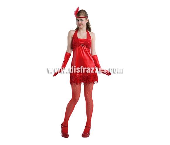Disfraz de mujer de los años 20 de color rojo adulta. Talla standar 38/42. Éste traje de Charlestón es muy bonito e incluye vestido, tocado y guantes, por eso se sube un pelín de precio, pero así y todo es bastante económico. Medias y zapatos NO incluidos.