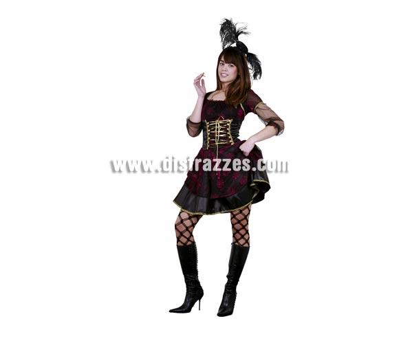 Disfraz de Saloon Girl para mujer. Talla Standar M-L 38/42. Incluye tocado y vestido. Éste traje de Cabaretera del Oeste está muy bien para ir diferente en Carnavales.