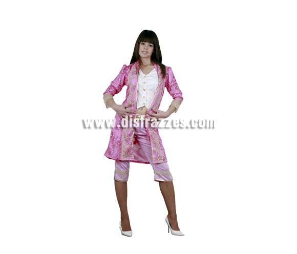 Disfraz de Dama Victoriana para mujer. Talla M-L = 38/42. Incluye top, abrigo y pantalones.  Disfraz de Época rosa.