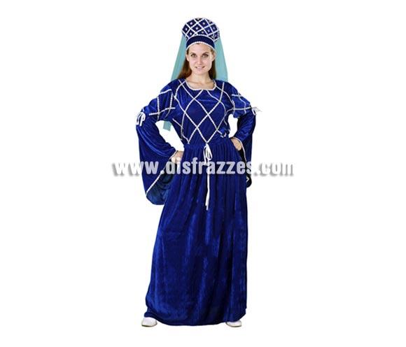Disfraz de Lady Medieval azul para mujer. Talla standar M-L = 38/42. Incluye tocado y vestido. Éste traje de MiLady para Ferias Medievales sí que es diferente. Escelente relación calidad - precio.