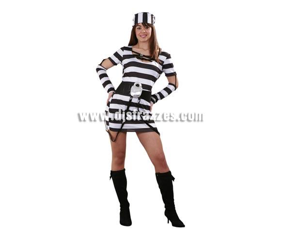 Disfraz barato de Prisionera Sexy para mujer. Talla standar M-L = 38/42. Incluye vestido, cinturón y gorrito. Éste traje de Presa o Presidiaria se usa mucho en Despedidas de Soltera. La verdad que tiene un diseño diferente con el cinturón éste.
