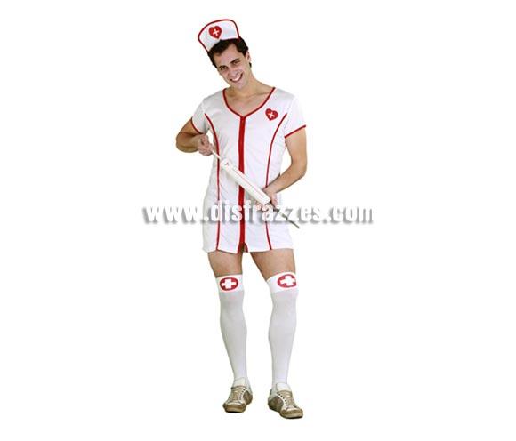 Disfraz barato de Enfermera Sexy para hombre. Talla standar M-L 52/54. Incluye tocado y vestido. Accesorios NO incluidos, los verás en la sección de Complementos.