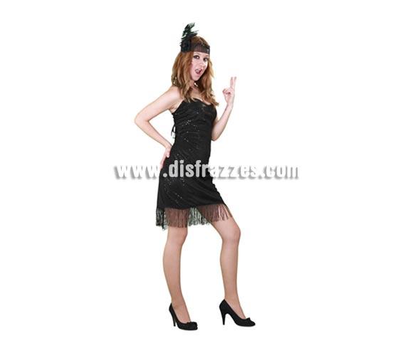 Disfraz barato de Charlestón negro para mujer. Talla standar M-L = 38/42. Incluye tocado y vestido. Bonito traje de Charlestón para ir acompañada de un buen Ganster, buena pareja!