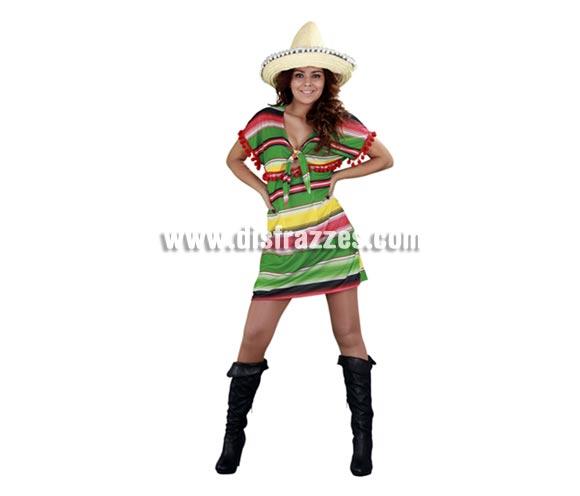 Disfraz de Mejicana con vestido corto para mujer. Talla standar M-L 38/42. Incluye sólo el vestido. Si quieres el gorrito lo tenemos en Complementos. Es sencillo pero tiene muy buenos acabados como la pasamanería de bolitas rojas que lleva en las mangas y bajo el pecho, esa es cara, por eso se sube un pelín de precio pero tampoco tanto. La pareja de éste traje la podrás ver con la ref. 08051BT.