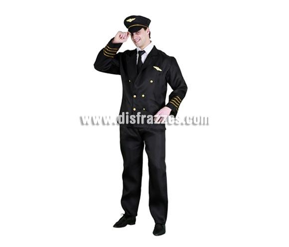Disfraz de Oficial de Vuelo para hombre. Talla standar 52/54. Incluye gorra, camisa, corbata, chaqueta y pantalón. Llámese también disfraz de Piloto de Avión o Piloto de vuelo para caballero.