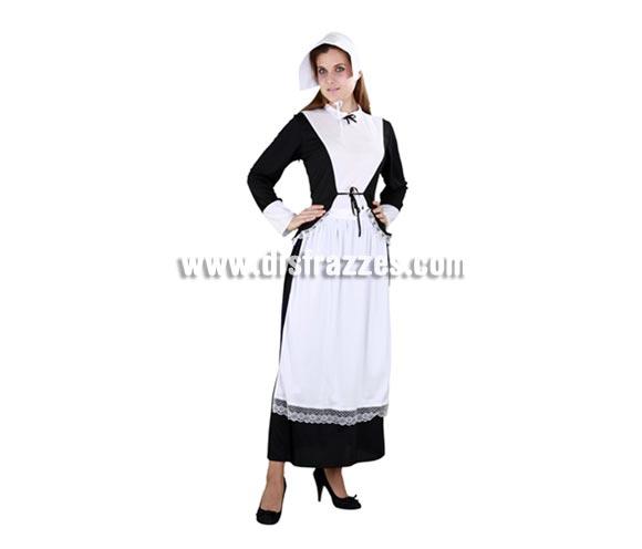 Disfraz barato de Puritana negro para mujer. Talla standar M-L = 38/42. Incluye sombrero, camisa, falda y delantal. Disfraz de la época de la Casa de la Pradera o del Oeste cuando algunas mujeres vestían así.