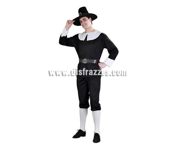 Disfraz barato de Puritano para hombre. Talla standar M-L = 52/54. Incluye sombrero, camisa, cinturón y pantalón. Éste disfraz es como los que llevaban algunos hombres en la serie de la Casa de la Pradera o en el lejano Oeste.