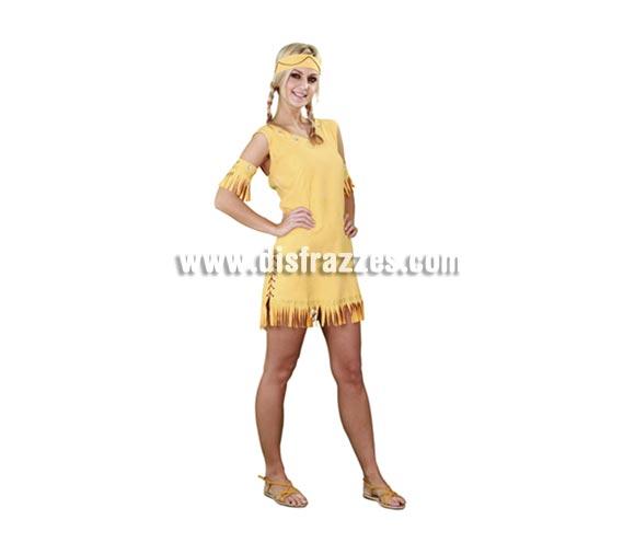 Disfraz barato de India claro para mujer. Talla standar M-L 38/42. Incluye tocado, brazaletes y vestido. Bonito disfraz de original diseño ideal para cualquier Fiesta de disfraces y por supuesto para Carnaval.