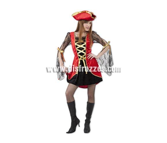 Disfraz barato de Pirata Sexy rojo y negro para mujer. Talla standar M-L = 38/42. Incluye vestido y sombrero. Cubrebotas NO incluido, lo verás en la sección Complementos con la ref. 96158BT.
