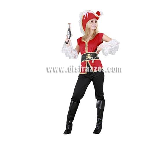 Disfraz de Capitana Pirata para mujer. Talla standar M-L = 38/42. Incluye sombrero, camisa, cinturón, pantalones, cubrebotas y manguitos. Éste precioso disfraz de Pirata de chica viene muy completo y por eso tiene una ezcelente relación calidad - precio, porque no necesitas ningún Complemento, bueno, la pistola si la quieres está en la sección de Complementos.