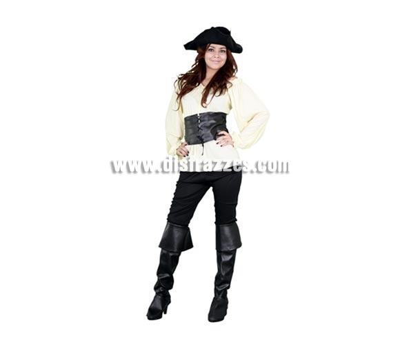 Disfraz de Moza Pirata beige para chicas. Talla Standar M-L = 38/42. Incluye sombrero, camisa, cinturón, pantalón y cubrebotas. Bonito y sobre todo original disfraz de Pirata para las chicas, sencillo pero de bonito diseño y muy complementado ya que incluye hasta el sombrero.