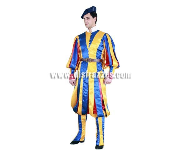 Disfraz de Guardia Suiza Vaticana para hombre. Talla standar M-L 52/54. Incluye boina, chaqueta, cinturón, pantalón y polainas. Éste disfraz de la Guardia del Papa es la leche y no es caro para lo completo que viene. Con él segurísimo que darás el cante y te quedarás con toda la peña, jejejejeje, ¡qué bueno es!