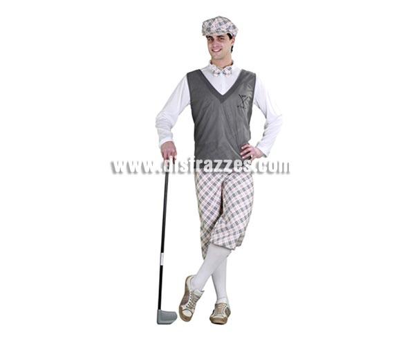 Disfraz de Golfista para hombre. Talla standar 52/54. Incluye gorra, camisa, jersey, pantalón y pajarita. Éste disfraz está muy completo y es muy original y gracioso. El palo de Golf que lleva el chico en la foto no lo incluye y no existe, si te fijas bien es una guadaña (ref. 69159BT)de plástico de Halloween pero el fotógrafo la ha recortado para que parezca el palo. La pareja de éste disfraz es la ref. 09162BT.