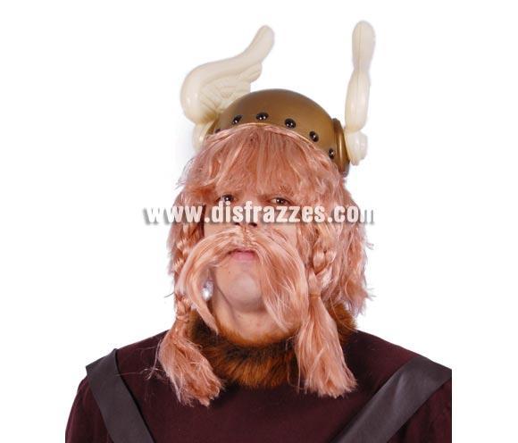 Peluca rubia con bigote incluido de Vikingo. El Complemento ideal para disfrazarse de Astérix. El casco es la ref. 16654GUI que podrás ver en la sección de Sombreros, Gorros y Diademas.