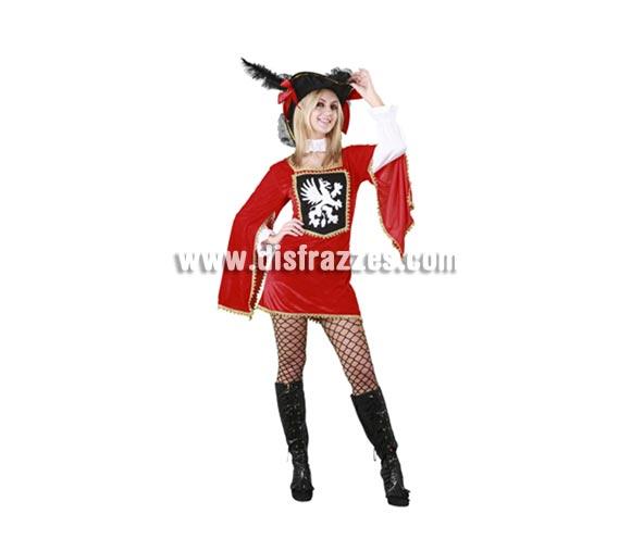 Disfraz barato de Mosquetera Sexy para chica. Talla standar M-L = 38/42. Incluye sombrero, collarín y vestido. Éste traje de Mosquetera hará que vayas muy guapa y que llames la atención.