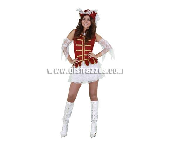 Disfraz barato de Cadete Mosquetera para chicas. Talla standar M-L 38/42. Incluye sombrero, vestido y manguitos. Éste traje de Mosquetera es muy bonito además de Sexy.