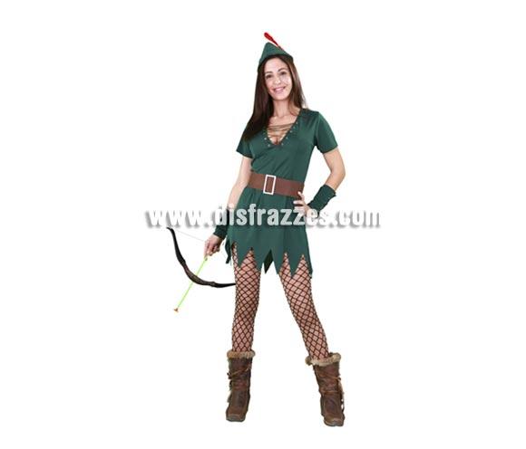 Disfraz barato de Robin Hood Sexy para mujer. Talla standar M-L = 38/42. Incluye gorro, vestido, cinturón y muñequeras. Éste traje es muy pero que muy Sexy y podría servir también como disfraz de Peter Pan sexy de chica.