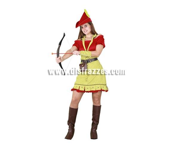 Disfraz de Robin Hood para mujer. Talla standar M-L 38/42. Incluye gorro, camisa, falda, cinturón, bolso, cubrebotas ya brazalete. Traje de Robin Hood para mujer de una calidad más alta muy completo y de excelente relación calidad - precio. Éste disfraz hace pareja con la ref. 10180BT.
