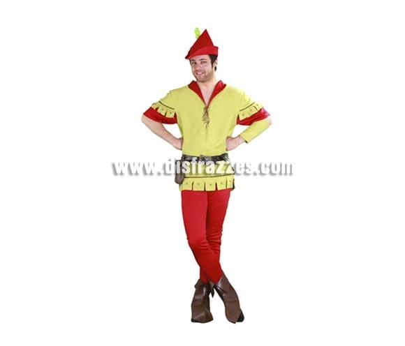 Disfraz de Robin Hood para hombre. Talla standar M-L = 52/54. Incluye gorro, camisa, pantalón, sinturón, bolso, cubrebotas ya brazalete. Éste disfraz de Robin Hood sería el que se pondría para ir los Domingos a Misa ya que es mudaor, mudaor, jejejeje.  Éste disfraz hace pareja con la ref. 10180BT. Traje de Robin Hood para hombre de una calidad más alta muy completo y de excelente relación calidad - precio.