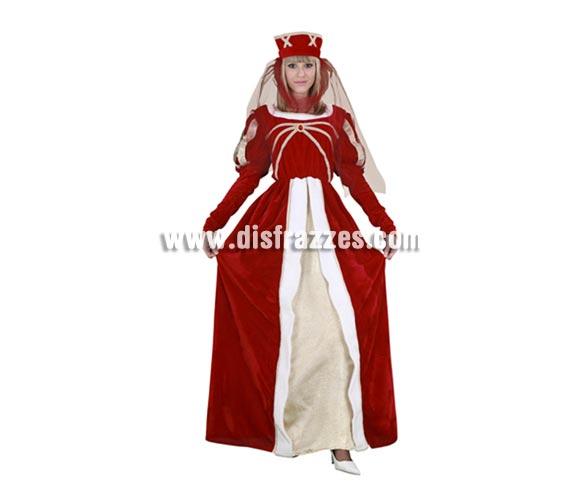 Disfraz de Princesa Real para mujer. Talla standar M-L 38/42. Incluye tocado y vestido. Traje Medieval para chica de excelente relación calidad-precio perfecto para Fiestas o Ferias Medievales.