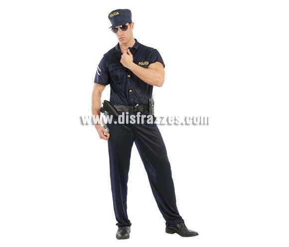 Disfraz de Policía cachas para hombre. Talla standar 52/54. Incluye gorra, mono y cinturón SIN accesorios. Antes de ponerte éste traje debería de ir al gimnasio sino, no te quedará igual, jajajaja.