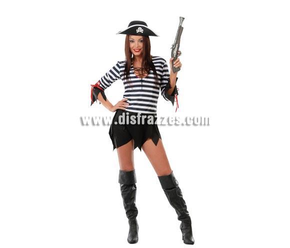 Disfraz barato de Pirata sexy para mujer. Talla única válida hasta la 42/44. Incluye gorro y vestido.
