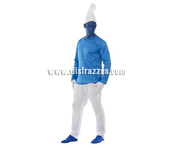 Disfraz de Pitufo para hombre. Talla standar 52/54. Incluye gorro, camiseta y pantalón. Este disfraz podría valer perfectamente para parecer un Pitufo. La pareja de éste disfraz es la ref. 80426GUI.