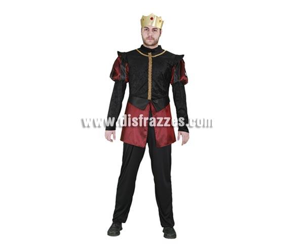 Disfraz de Príncipe de Borgoña para hombre. Talla standar M-L 52/54. Incluye pantalones, camisa y corona. Éste traje de Rey o Príncipe Medieval es perfecto para Ferias Medievales.