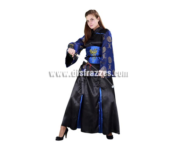 Disfraz de mujer Samurai adulta. Talla standar M-L 38/42. Incluye vestido, falda cinturón y delantal. Espada NO incluida, la podrás ver en la sección de Complementos.