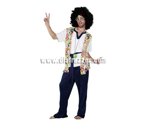 Disfraz barato de Hippie con chaleco de Flores para hombre. Talla standar M-L 52/54. Incluye camisa con chaleco, pantalón, cinta de la cabezacinturón y colgante símbolo de la Paz. Peluca NO incluida, la podrás ver en la sección Complementos.
