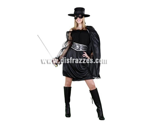 Disfraz barato de Heroina Enmascarada para mujer. Talla standar M-L 38/42. Incluye sombrero, capa, vestido y cinturón. Éste traje es perfecto para vestirse de la mujer del Zorro. Éste disfraz hace pareja con la ref. 09595BT que es el de Héroe Enmascarado.