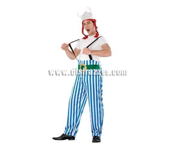 Disfraz barato de Galo gordo para hombre. Talla standar M-L = 52/54. Incluye casco con trenzas y pantalones con tirantes. Con éste disfraz de Obélix darás la nota junto con Astérix. Tenemos la pareja perfecta de éste traje con la ref. 96275BT.