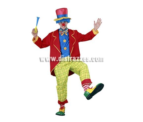 Disfraz de Payaso divertido para hombre. Talla standar M-L 52/54. Incluye chaqueta, pechera con pajarita, pantalón y sombrero. Accesorios NO incluidos, los verás en la sección de Complementos. La pareja de éste disfraz es la ref. 08020BT.