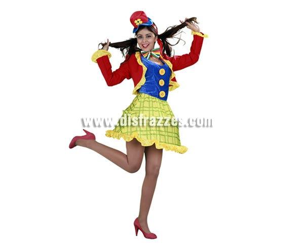 Disfraz de Payasa divertida para mujer. Talla standar M-L 38/42. Incluye chaqueta, vestido, pajarita y sombrero. La pareja de éste disfraz es la ref. 08019BT.