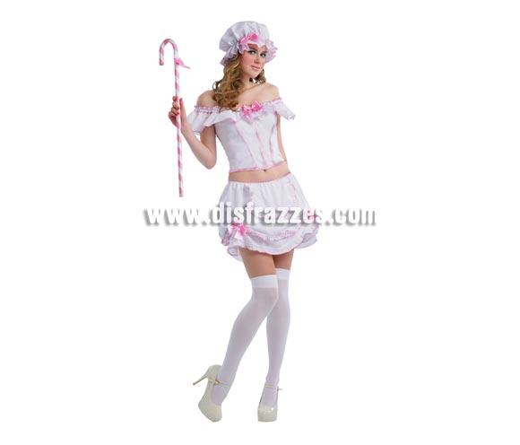 Disfraz barato de Ingenua para mujer. Talla standar M-L = 38/42. Incluye corsé, falda, bastón y sombrero. Un disfrazmuy, pero que muy, pero que muy Sexy para chicas.