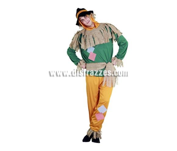 Disfraz de Espantapájaros para hombre. Talla standar M-L = 52/54. Incluye sombrero, camisa, cinturón y pantalón. Éste traje es perfecto para alguien que quiera disfrazarse de la peli El Mago de Hoz con Dorothy, el León y el Sr. de Hojalata.