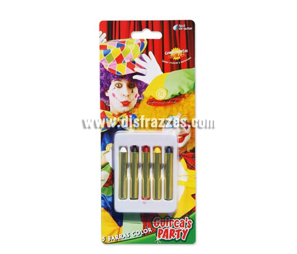 Caja 5 barritas de maquillaje de 5 cm. Artículo de Maquillaje ideal para caracterizarte en Carnaval, en Halloween o en cualquier fecha del año que tengas ocasión para ir de Fiesta.  ¡¡Compra el maquillaje para tu disfraz de Carnaval o de Halloween en nuestra tienda de disfraces, será divertido!!