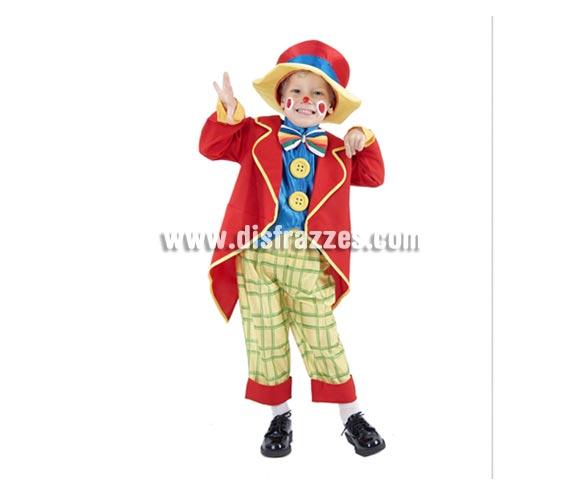 Disfraz barato de Payasete para niño. Talla de 3 a 4 años. Incluye abrigo, pechera con pajarita y botones, pantalones y sombrero. Éste disfraz de Payasito infantil está muy completo y tiene muy buen precio.