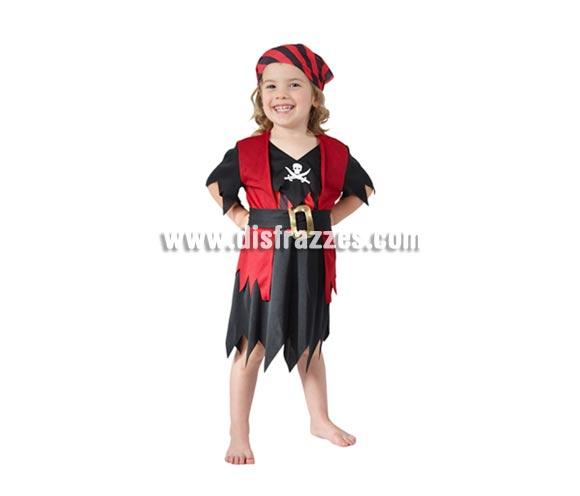 Disfraz barato de Pirata para niñas de 3 a 4 años. Inlcluye camisa con chaleco, falda, cinturón y pañuelo de la cabeza.