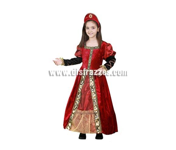Disfraz de Princesa Medieval roja y dorada barato para niña. Talla de 7 a 9 años. Incluye vestido y tocado. Éste traje de Dama es perfecto para Ferias Medievales.
