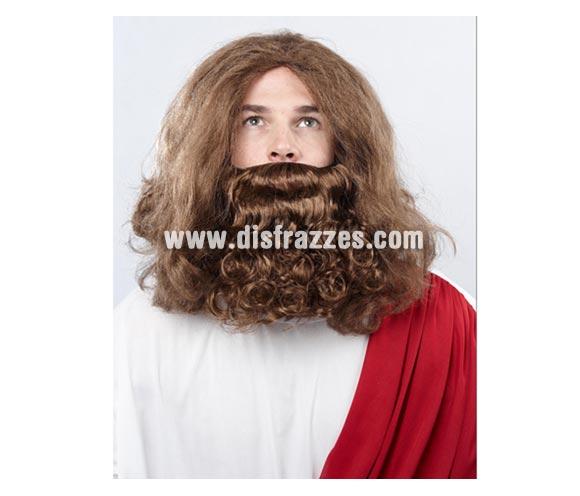 Peluca y barba de San José. Talla Universal adulto. El Complemento ideal para tu disfraz de San José y también para Troglodita o Cavernícola incluso para los disfraces de Vikingos y Bárbaros.
