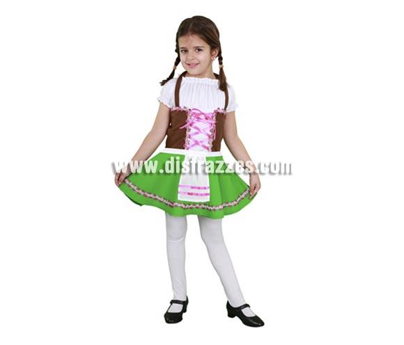 Disfraz super barato de Tirolesa para niñas de 7 a 9 años. Incluye vestido y delantal.